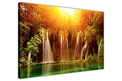 Sunrise Over Waterfall Canvas Wall Art Prints Room Decoration Pictures Nature Photos