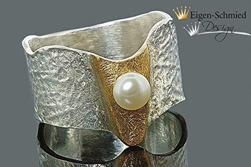 """Goldschmiede Perlenring\""""Meldoy\"""" in 925er Sterling Silber mit einer Teilvergoldung, Perle, Perlen, Perlenschmuck, Schmuck, Silberschmuck, Goldschmiedearbeit, Unikat, handgefertigt"""