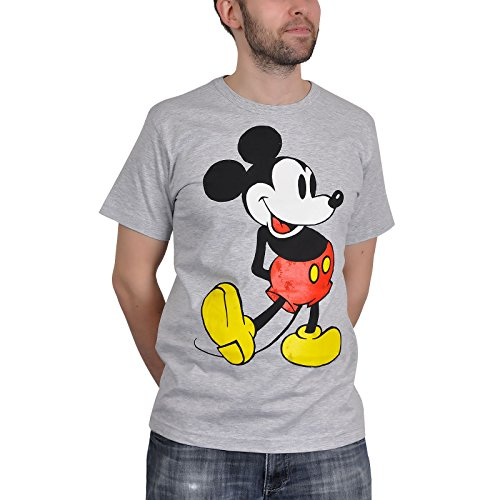 Mickey Mouse - camiseta del ratón Mickey - estampado retro del personaje de Disney, tejido elástico, con la licencia oficial, algodón, gris - XL