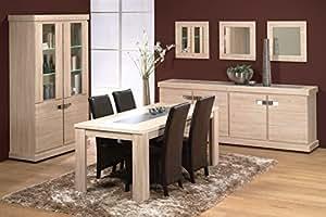 Matelpro-Salle à manger complète contemporaine chêne odessa Diane-SAM avec table 140 x 140 cm