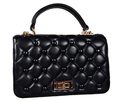 Designer Tasche PU Leder Handbag Clutch gesteppte Handtasche Henkeltasche Abendtasche Schultertasche Gold Kette City Tote Bag Schwarz
