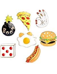 Broche de esmalte de metal Conjunto De Insignias De 7PCS Lindo comer bienes necesarios hamburguesa Pizza Serie de perros calientes DE ACUERDO Bomba tamiz pecho cuerpo alfiler
