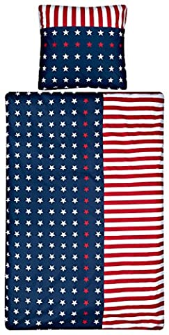 Aminata – gestreifte Bettwäsche 135x200 cm USA Stars & Stripes Baumwolle + Reißverschluss Blau Rot Weiß Kinderbettwäsche Amerika Flagge Fahne Sternchen Streifen Sterne Bettwäscheset Bettbezug (Blaue Gestreifte Kissen)