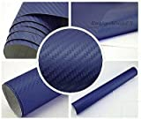 3,22€/m² 3D Carbon Folie - BLAU - 30 x 152 cm selbstklebend flexibel Car Wrapping Folie