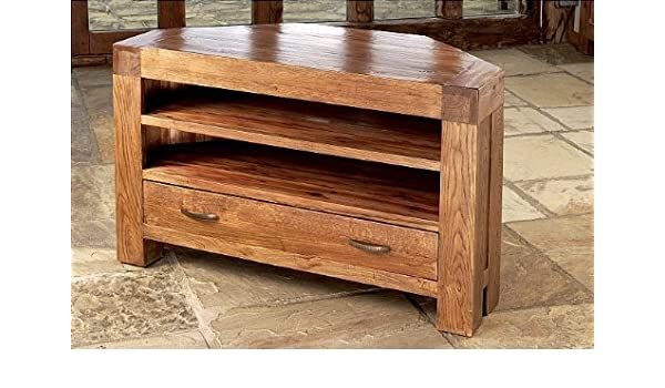 Santana Reclaimed Oak Corner Tv Cabinet With 1 Drawer 2 Shelves
