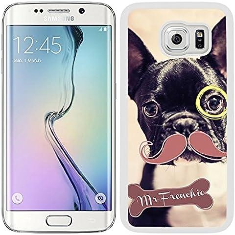 Funda carcasa para Samsung Galaxy S6 Edge Plus diseño dibujo perro con bigote y monóculo Mr Frenchie bulldog francés borde