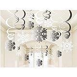 Sayala 30Pcs Decorazione Natalizia,Merry Christmas Snowflake Hanging Swirls Flussi di soffitto per Xmas Winter Wonderland Holiday Party