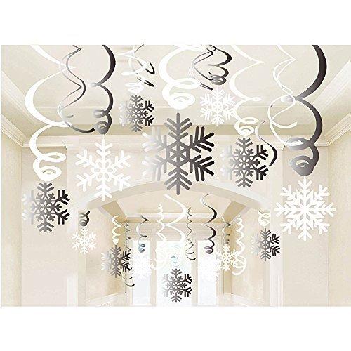 (Sayala 30 STK.Hängedekoration -Schneeflocke wirbelt Dekoration- Frohe Weihnachten Schneeflocke hängende wirbelt Garland Folie Decke Weihnachten Winter Wonderland Urlaub Party)