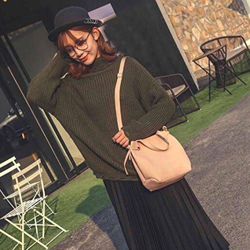 Borsetta In Pelle Artificiale, Moda Donna In Pelle Litchi Stria Borsetta Crossbody Spalla Bag + Pochette Portafoglio by Kangrunmy Rosa