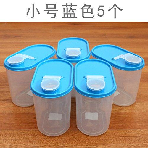 AISSION KITCHEN Storage Jar/Container/Aufbewahrungsboxen, Korn-lagerung-Boxen von Bohnen in der Küche Kunststoff Behälter Dichtung luftdicht verschlossenen Kanister, der 5,1.8 L SET-Blau-5
