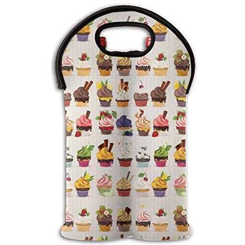Cup Cake 2 Bottle Wine Carrier Wine Tote Carrier Bag/Purse for Champagne, Wine, Water Bottles,Wine Bottle Carrier.