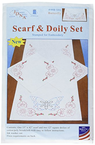 Jack Dempsey Stamped Dresser Scarf & Doilies Perle Edge-Butterfly (Perlen Doily)