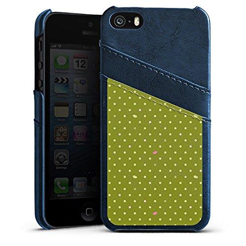 Apple iPhone 5s Housse Étui Protection Coque Points Vert Motif Étui en cuir bleu marine