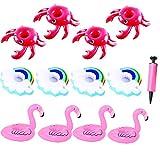 JYOHEY Aufblasbarer Getränkehalter Flamingos Krabbe Regenbogen Getränkehalter Pool Aufblasbare Poolbar Getränkehalter Wasser Für Pool-Party 12 Stück