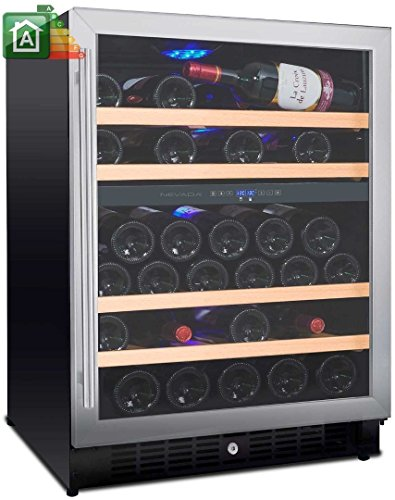 Keller Weine von 54Flaschen Mobile Weinregal Nevada nw54d-s 2Temperaturen von _ 5°C A _ 22°C Energie-Effizienzklasse A Tür und Griff Edelstahl Kühlschrank für Weine mit Schubladen aus Massivholz freistehend und eingebaut. (Schublade Wein)