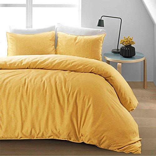 Nimsay Home Luxury Soft Pure Natural Flax Fibre Linen Blend Quilt Duvet Cover Bedding Set (Banana, King Duvet Cover Set)