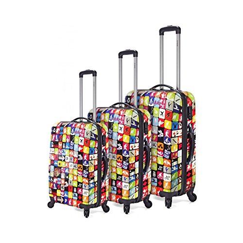a7024ca7b Juego de 3 maletas de policarbonato, con 4 ruedas multidireccionales.  Estampado juvenil para todos tus viajes ¡Oferta de maletas al mejor precio!