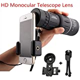 XiuFen 16x52 High Power HD Monocular Telescope Lens Dual Focus Prism Scope with Night Vision –Includes Universal Smartphone Mount and Tripod Waterproof Fog Proof Compact 16X Zoom for All Outdoors