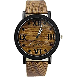 SAMGU Wooden Quartz Men Watches Casual Wooden Color Leather Strap Watch Wood Male Wristwatch Style 5