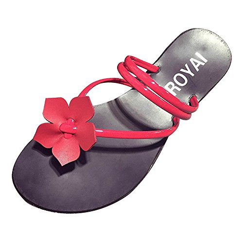 Dayiss Mädchen Damen Blumen Flache Sandalen Flip-Flops Strandschuhe Sommer  Rot