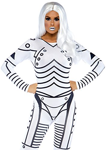 Leg Avenue 86639 - Killer Roboter sexy gedrucktes Catsuit, Damen Karneval Kostüm Fasching, S, weiß/schwarz