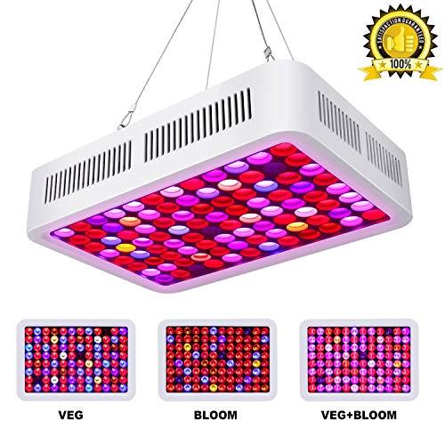Roleadro 600W LED Pflanzenlampe mit VEG/BLOOM Dimmen, Led Grow Light Vollspektrum Wachsen Licht Lampe Wachstumslampe Pflanzenlicht für Zimmerpflanzen Gemüse und Blumen -