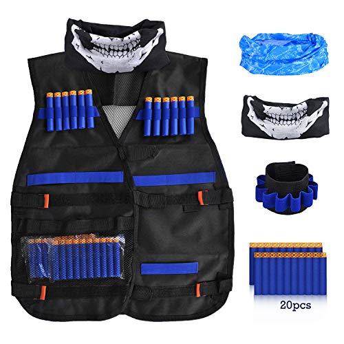 LOYO Kids Tactical Vest, Adjustable Tactical Vest Jacket Kit for Nerf Toy Gun N-Strike Elite Series with 20Pcs Soft Foam Darts Bullets, 1 Scarf, 1Pc 8-Dart Wrist Band & Seamless Face Mask