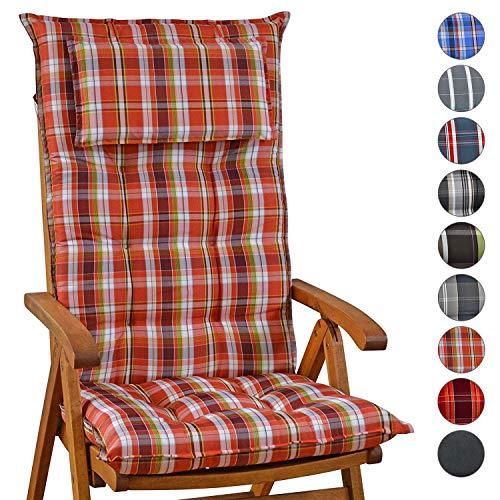 Homeoutfit24 Sun Garden Gartenstuhl-Auflage (120 x 50 x 9 cm) Sylt, Hochlehner Auflage mit Abnehmbarem Kopfpolster in Rot/Weiß 6er Set