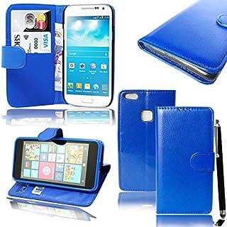 Huawei P10Lite Handy–Mobile Stuff Luxus PU Cover Schutzhülle Geldbörse-Hand für Huawei P10Lite 2017Smartphone + Free Stylus Pen Plain Blue Book