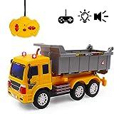 deAO RC Camion di Serie Camion da Costruzione Completamente Funzionale Radiocontrollato Veicolo di con Luci e Suoni Livello Principiante (Camion Ribaltabile)