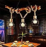 Kronleuchter Seil 3-Flammig Loft Lampe Retro Pendelleuchte Esszimmerlampe Pendel Leuchter Des Anhänger Licht vintage industrie deko im landhausstil rustikal nostalgisch jute ornament Halogenlampen