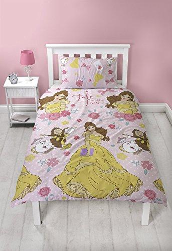 Disney Prinzessin Belle Bettbezug-Set, Mikrofaser, rosa, Einzelbettbezug