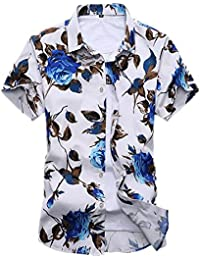 Newbestyle Men Floral Print Shirt Short Sleeve Summer Casual Shirts