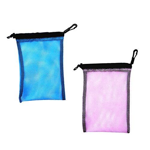 MagiDeal 2 Stück - Blau + Rosa Mesh Bag, Netztasche Aufbewahrungstasche für wie Flossen Schnorchel Tauchbrille Tauchermaske Outdoor Beutel