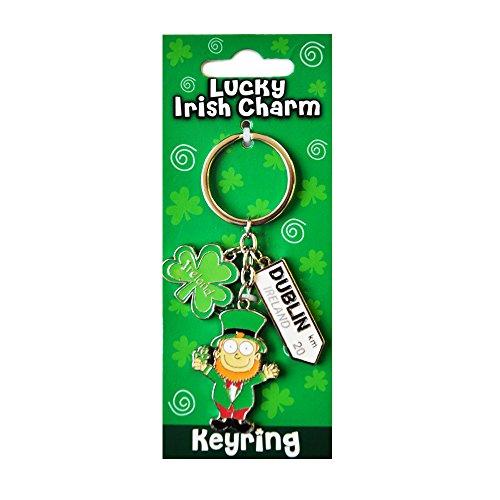 Preisvergleich Produktbild Irische Leprechaun Stil Anhänger Schlüsselbund mit Dublin Straßenschild