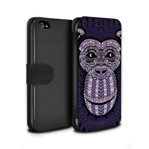 Stuff4® PU-Leder Hülle/Case/Tasche/Cover für Apple iPhone 4/4S / AFFE-Lila Muster/Aztec Tier Muster Kollektion (Affe 4s Iphone)