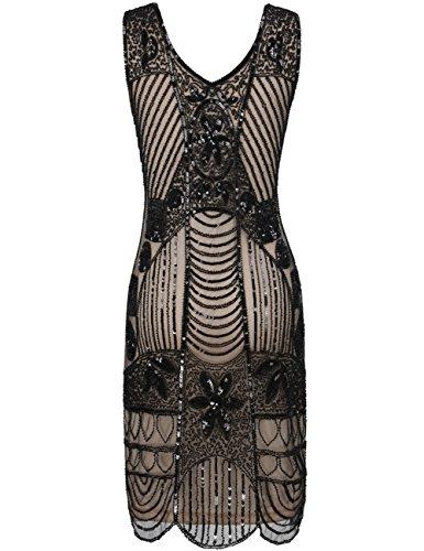 Kayamiya Damen Retro 1920er Perlen Pailletten Blatt Art Deco Gatsby Flapper Kleid Schwarz Beige