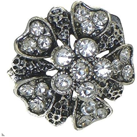 DELPHINIUM Tono argento antico cristallo sciarpa Clip