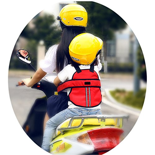 Vine Cintura di sicurezza bambini di sicurezza per moto / auto elettrica / Bicicletta regolabile(Rosso)