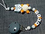 Schnullerkette mit namen Junge oder Mädchen, Fuchs Grau Orange- Silikonring-Geschenk zur Geburt