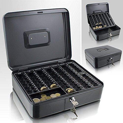 Geldkassette 30 cm groß flach abschließbar Münz Geld Zählbrett Kasse Dunkelgrau 300mm
