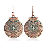MSYOU Alloy Earrings Round Boho Retro Pendant Charm Earrings Female Birthday Gift Holiday Jewelry Gift