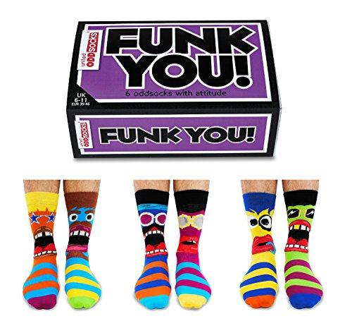 United Oddsocks Set di 6 calzini spaiati da uomo confezione regalo Modello Funk You taglia EUR 39 46