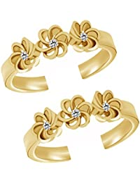 Jewels Exotic 0.06 CT White CZ 925 Sterling Silver 14K Yellow Gold Fn Flower Style Fashion Toe Rings