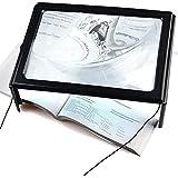 fenguh Ultrafino Lupa en Hoja Completa A4 Lupa con Luz LED de Soporte &Patas Plegables Magnifier 3X Lupa Manos Libres para Lectura de Mapas, Periódicos, Calendarios, Libros o Cualquier Texto Pequeño