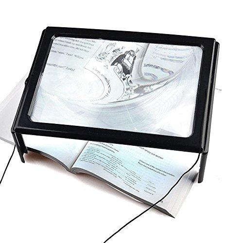 fenrad® 3 X Magnifier A4 Pagina LED illumina Ingrandimento Pieghevole Lente d'ingrandimento Loupe Mani Libere per Lettura( iPad Giornale Rivista) Gadget Riparazione, Intaglio Artigianato, Cucito, Maglia con 4 Luci LED