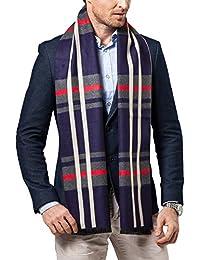 Dolamen Unisex Hombre Mujer Bufanda con borlas, Hombre Lana de invierno lujosa ligera y suave Plaid Cashmere Bufanda, Pañuelo caliente para ocio y negocios