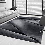 SIMPEX Kurzflor Guenstige Teppich modern geometrisch Lienien Schatten Muster Schwarz Grau Weiss meliert 5 Groessen Wohnzimmer, Gästezimmer, Flur, Schlafzimmerm, Kueche, Läufer, Größe:120x170 cm