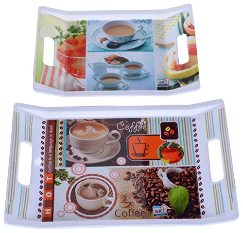 SKI Plastic Printed Tray Set, 2 Pieces, Assorted