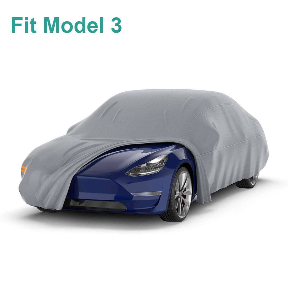 Hebilla Ajustable y Tiras Reflectantes BougeRV Cubierta de Coche Tesla Modelo 3 Impermeable a Prueba de Viento para Todas Las Cubiertas de Coche a Prueba de Intemperie Protecci/ón UV con Correas